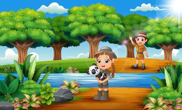 動物園の漫画男の子とジャングルのパンダと少女