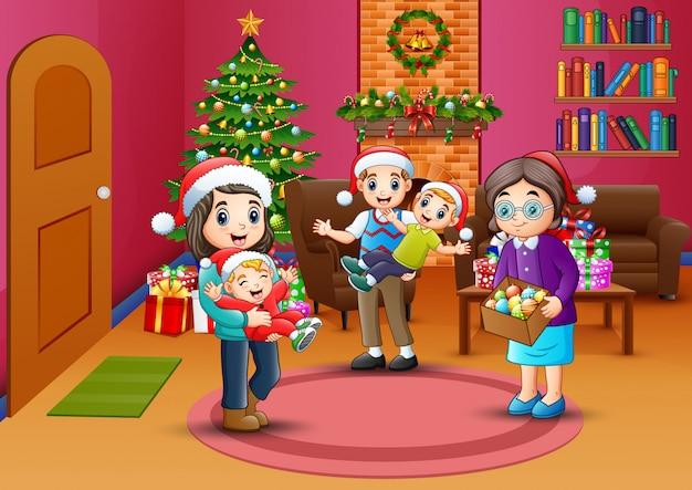 幸せな家族のお祝いクリスマス