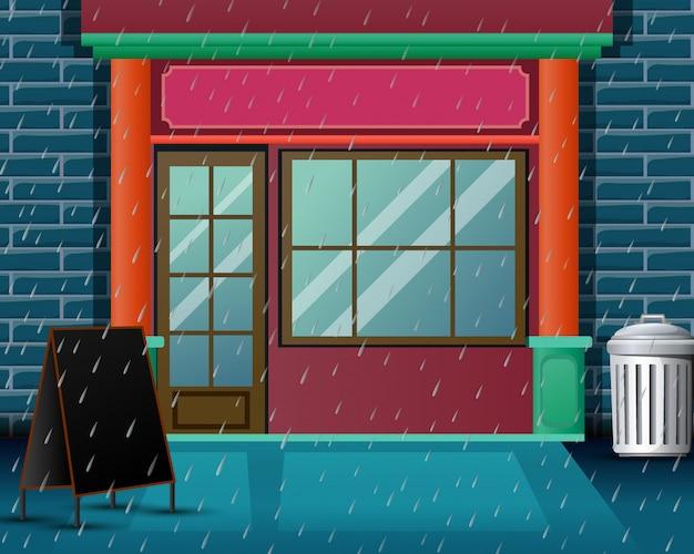 非常に豪雨のある背景のレストランのシーン