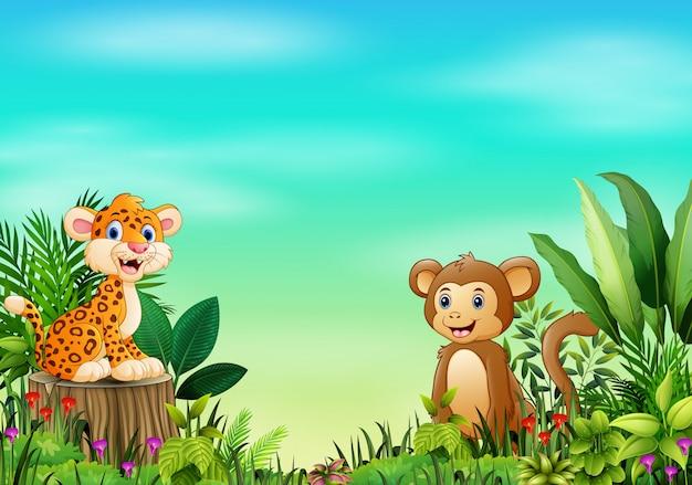 赤ちゃんヒョウの自然の風景