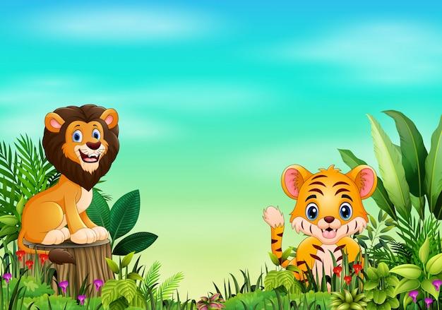 Мультфильм дикое животное в прекрасном парке