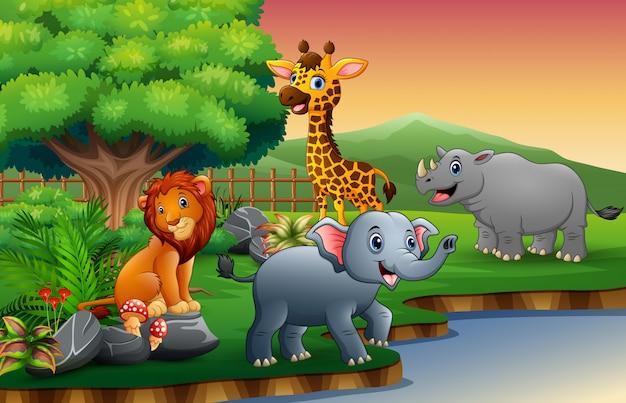 Мультфильм животных наслаждается природой у реки