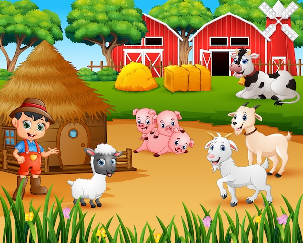 農家の農家と農場動物