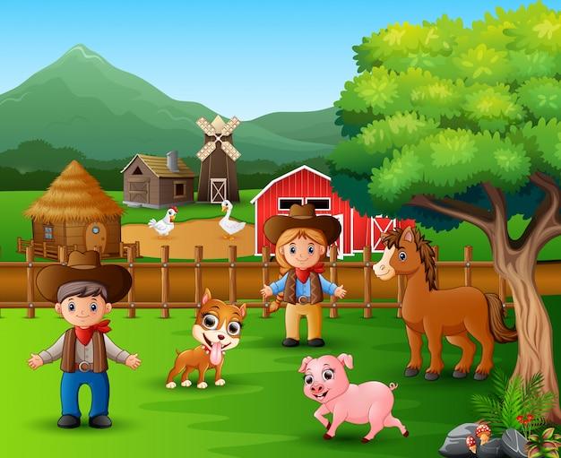 異なる動物の農場風景
