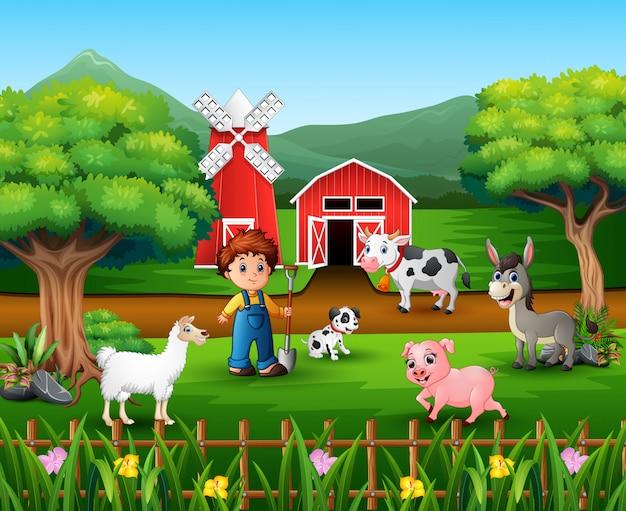 多くの動物や農家がいる農場風景