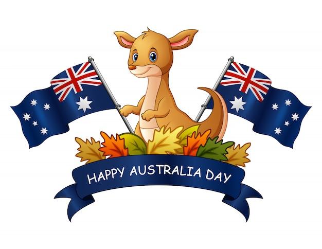 カンガルーと白い背景での幸せなオーストラリアの日