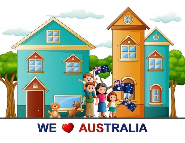 オーストラリアの日の幸せな家族のお祝いのポスター
