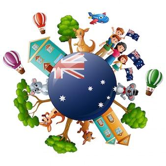 オーストラリアの日に世界の概念と都市