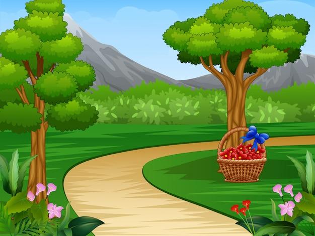 未舗装の道路と美しい庭の背景の漫画