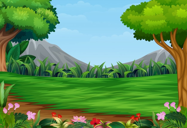 Панорамный красивый парк пейзаж с горным фоном
