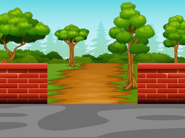 森への未舗装の道路の眺め