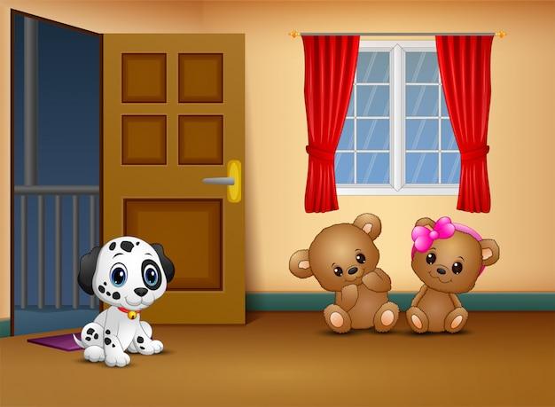 リビングルームで犬と一緒にかわいいカップルテディベア