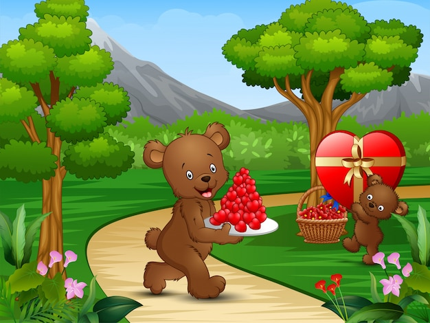 幸せなクマ、庭でバレンタインデーを祝う