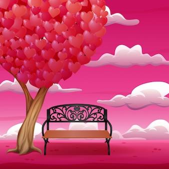 大きな木とハート形の葉を持つ漫画椅子