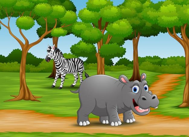 Мультфильм животных наслаждается природой в джунглях