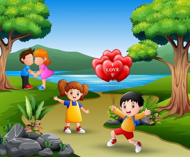 Счастливый день святого валентина концепция две молодые пары в любви