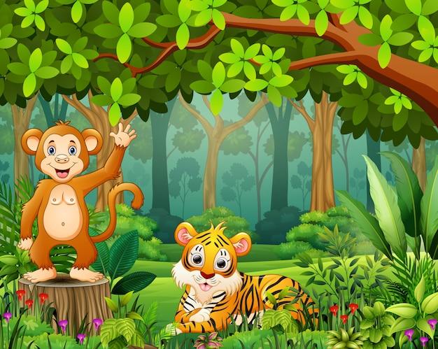 美しい緑の森の風景の中の動物漫画