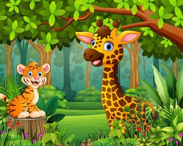 Мультфильм животных в красивый зеленый лесной пейзаж