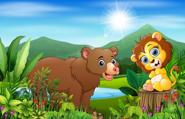 美しい緑の風景と野生動物漫画