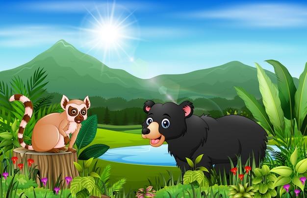 Мультяшный медведь и лемур в красивом пейзаже