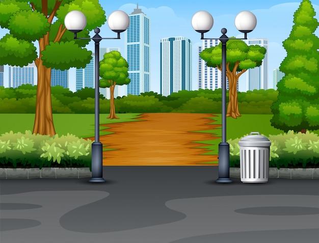 Городской парк фон с тропинкой и фонарем