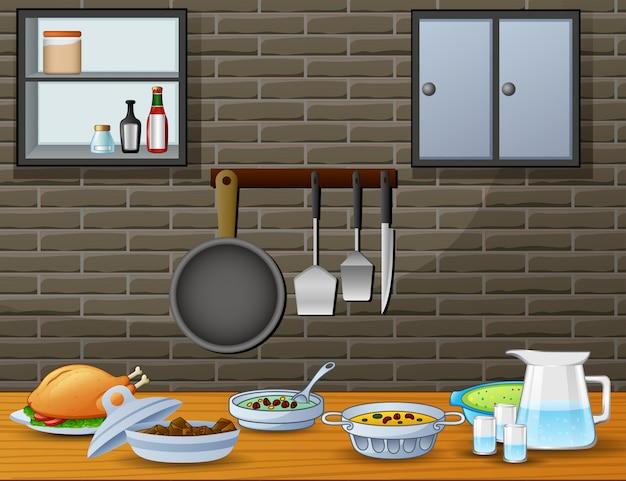 台所のダイニングテーブルでの料理