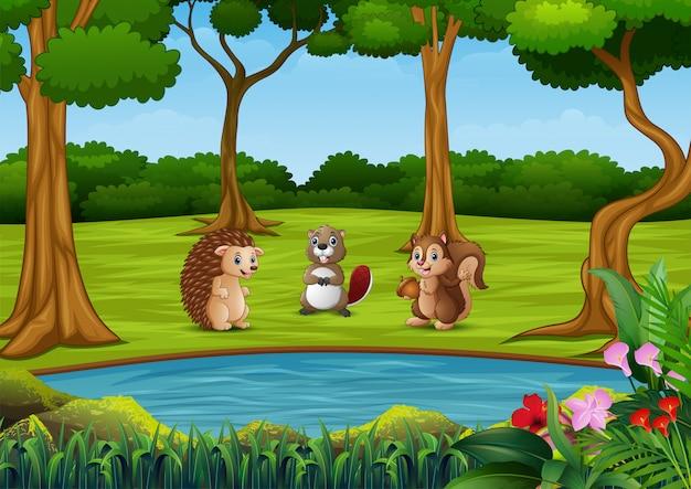 美しい公園の背景を持つ動物漫画