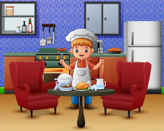 シェフの服を着た男性がダイニングテーブルで食事を提供