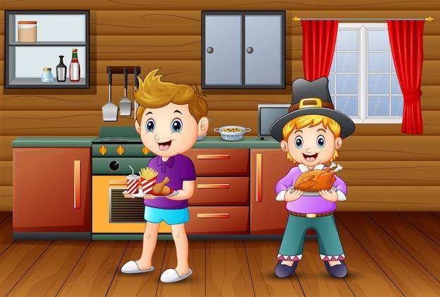 二人の少年が台所で食べ物をもたらす