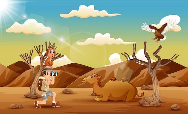 Счастливого отпуска с наблюдением за животными в пустыне