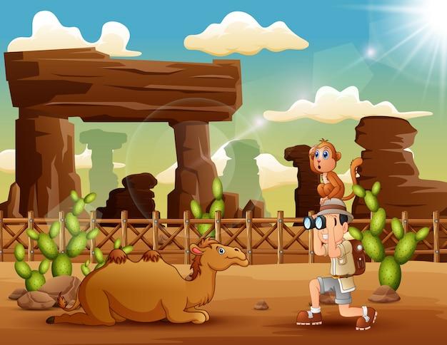 砂漠で動物を見て幸せな休暇