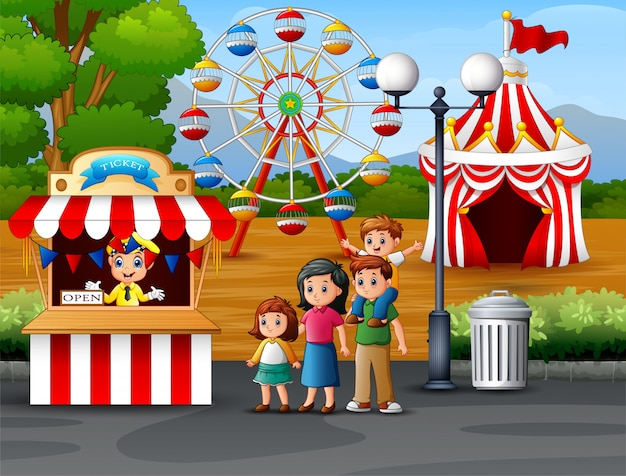 遊園地で幸せな家族
