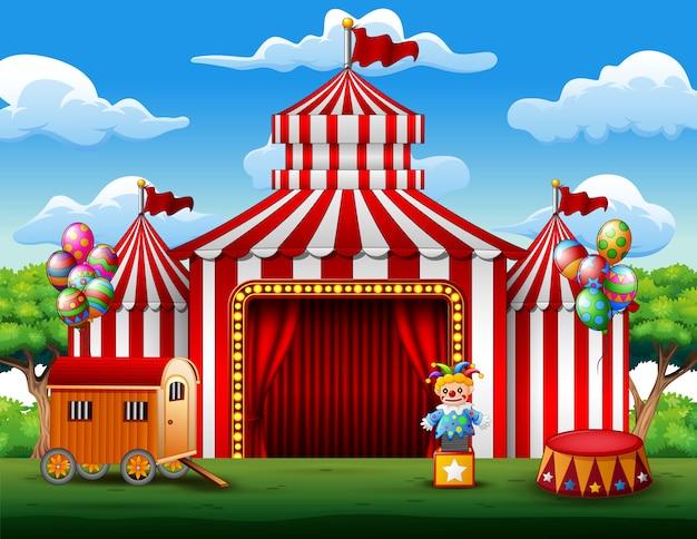 ビッグトップサーカステント白と赤の背景
