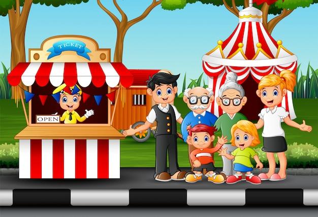 遊園地での家族のレクリエーション