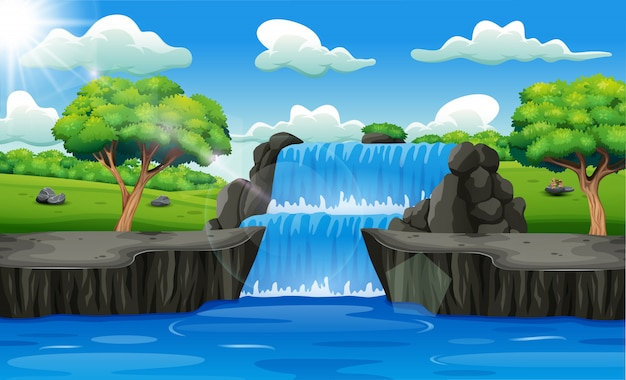 Водопад пейзажный фон в лесу