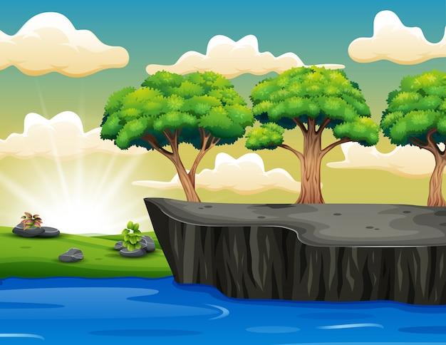 草と崖の景色の木