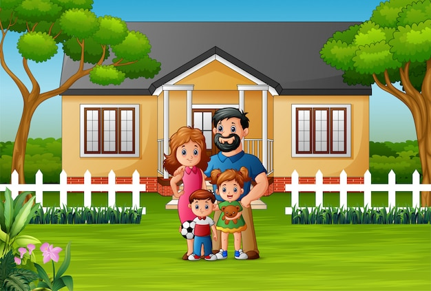 幸せな家族が家の前に立っています。