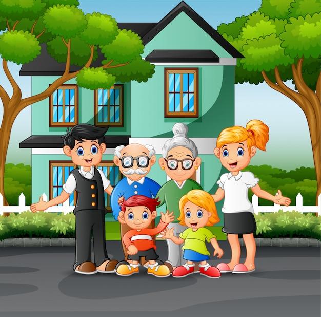 家の前庭で幸せな家族