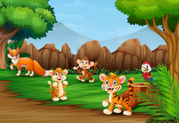 Мультфильм диких животных в прекрасной природе пейзаж