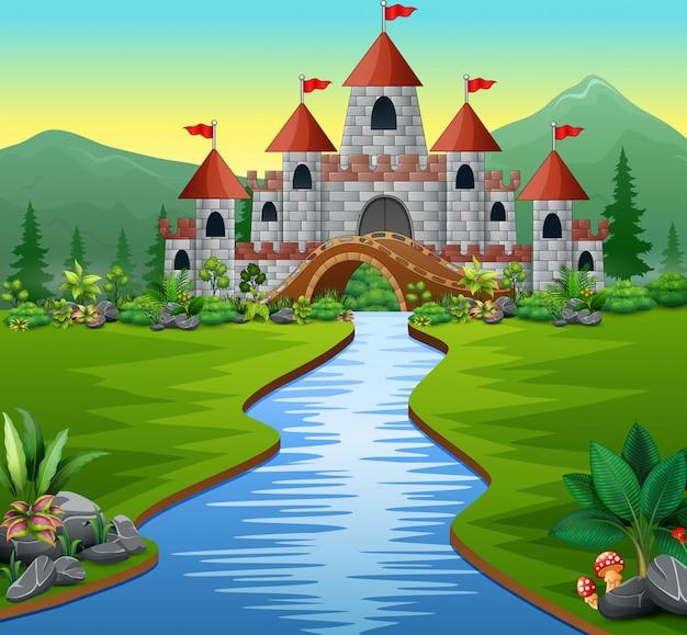 城と緑豊かな公園の川