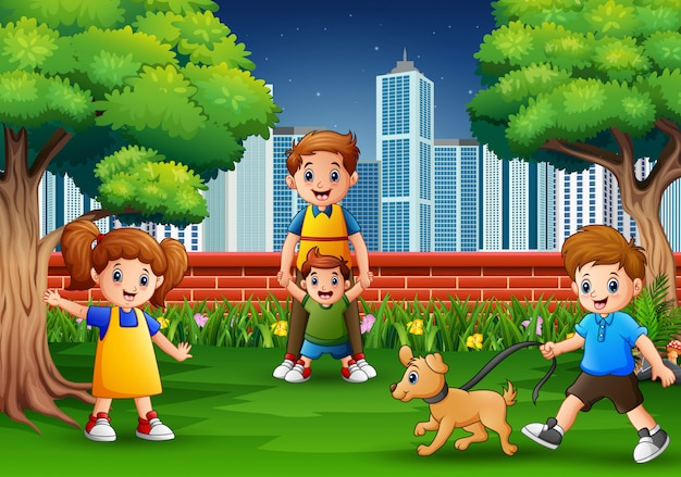 Мультяшная семья веселится в городском парке