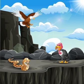 山の崖で多くの動物漫画