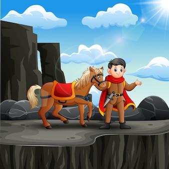 崖の上の彼の馬と王子様