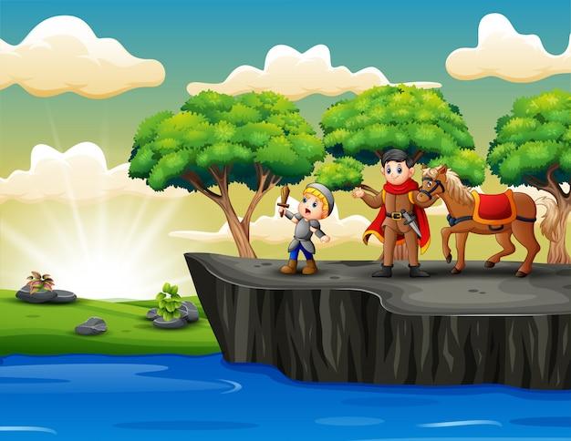 崖の上に立っている騎士と王子を漫画します。