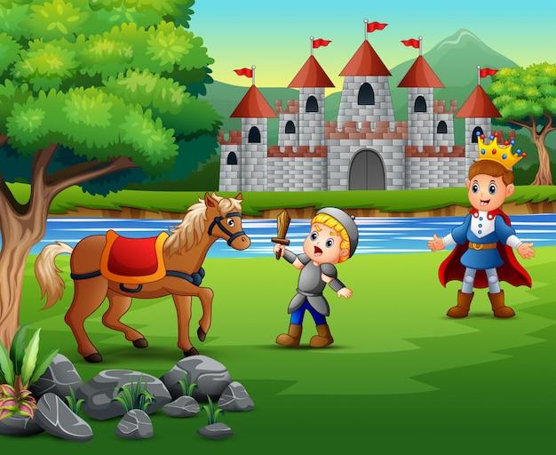 王子を守るために馬と戦っている小さな騎士