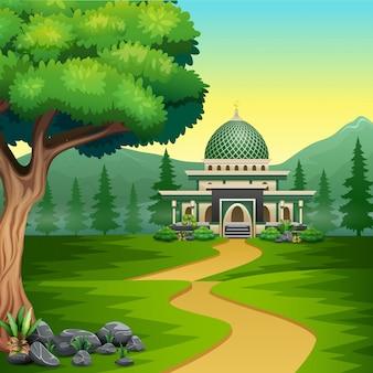 美しい風景とモスクへの漫画の道