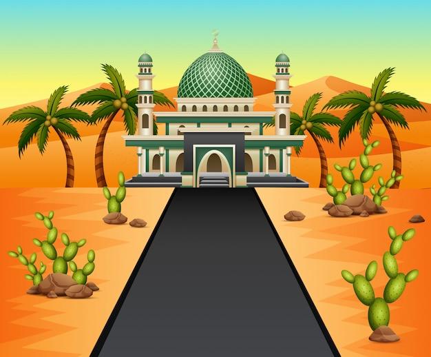 砂漠の背景にモスクへの道