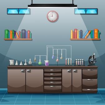 科学実験のための器具がいっぱいのテーブルがあるワークスペース