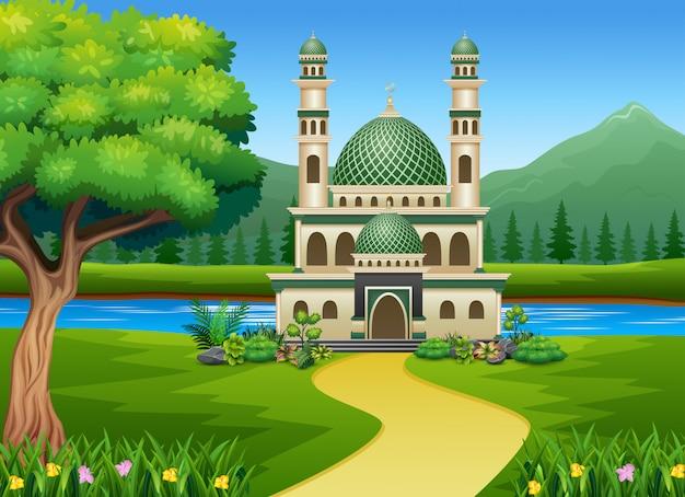 美しい自然の中でイスラムモスク