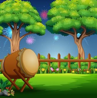 Природа пейзаж с барабаном и фейерверк в небе